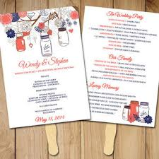 jar wedding programs diy wedding program fan template rustic from paintthedaydesigns