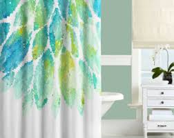abstract shower curtain watercolor shower curtain turquoise