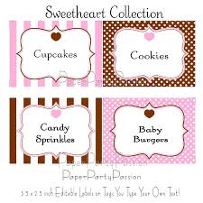 candy buffet printable editable party labels or tags pink and