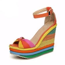 rainbow color bohemia buckle strap women wedge sandals daisy