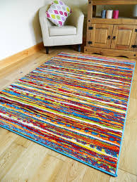 Bright Colored Rugs Multi Coloured Stripe Funky Bright Modern Thick Soft Heavy Quality