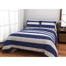 Navy Stripe Comforter Set American Originals Rugby Stripe Bed In A Bag Bedding Set Walmart Com
