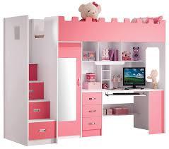 chambre combiné fille lit combiné mezzanine coloris et blanc amazon fr cuisine maison