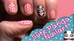 how to do cute and easy panda nailart for valentines day with