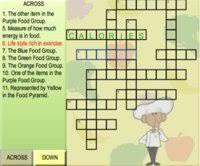 nutrition crossword puzzles teacher lesson plans kids food