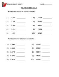 rounding decimals tenths worksheet with answer key tpt