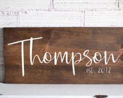 wedding gift name sign wooden signs home sign decor last name establish sign wood