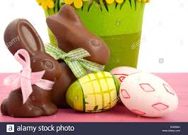 easter chocolate bunny happy easter chocolate bunny rabbits with basket of pink white