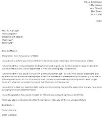 resignation letter sample of resignation letter without notice