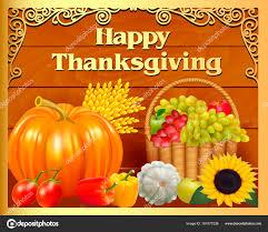 illustration card fruit basket and pumpkin on thanksgiving day