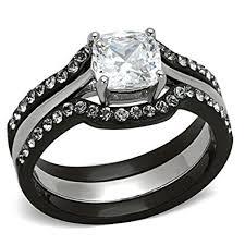 black stainless steel wedding rings black stainless steel wedding ring sets cushion cut