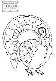 free thanksgiving turkey embroidery transfer pattern