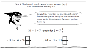 maths worksheet division with remainders written as fractions