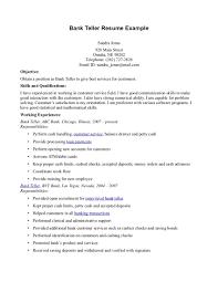 Experience For Resume No Work Experience Cover Letter Bank Teller Objective For Resume Bank Teller Sample