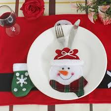 Table Decorations For Christmas Black White Red Christmas Snowman Knife And Fork Bag Table