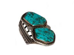 turquoise stone two stone blue diamond cuff from our vintage collection