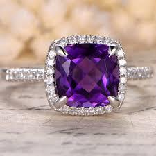 rose gold wedding set amethyst amethyst engagement ring cushion cut rose gold wedding set