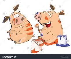 Vector Illustration Pig His Girlfriend Painter Stock Vector