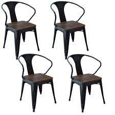 Metal Dining Chairs Amerihome Black Metal And Wood Dining Chair Set Of 4 801071 The