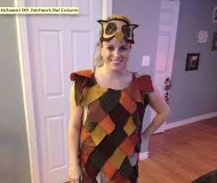 diy owl halloween costume halloween diy patchwork owl costume lauren conrad