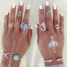 midi rings set elephant snake blue gem rings stackable midi rings 8pc set