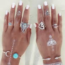 midi rings set elephant snake blue gem rings stackable midi rings 8pc set