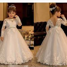 communion gowns sleeve lace flowers dress for weddings