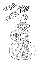 little witch coloring page for kids printable free halloween