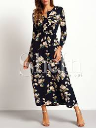 maxi dresses with sleeves sleeve floral maxi dress shein sheinside