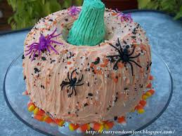 Halloween Bundt Cake Decorations by Kitchen Simmer Decorated Pumpkin Cake
