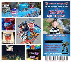 transformer party invites transformers birthday party invitations