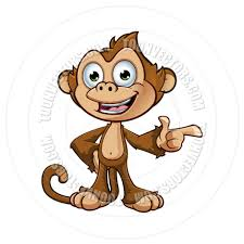 cartoon cheeky monkey character pointing by designwolf toon
