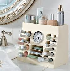 Bathroom Makeup Organizers Makeup Organizer Pvc Pipes In Short Sections Mounted In A Block