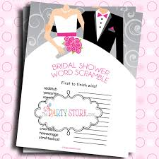 bridal shower games printable bride and groom word scramble