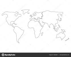 Blank Continents Map by Simplified World Map Divided To Continents Simple Black Outline