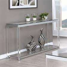 Chrome And Glass Sofa Table Coaster 1 Shelf Glass Top Console Table Chrome And Clear Acrylic