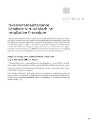 appendix d pavement maintenance database virtual machine