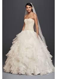 wedding dresses david s bridal oleg cassini strapless ruffled skirt wedding dress david s bridal