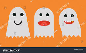 cartoon halloween background set cute cartoon halloween ghosts halloween stock vector 494269996