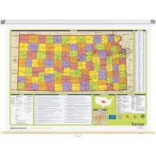 Map Of Counties In Kansas Kansas Political State Wall Map Rand Mcnally Store