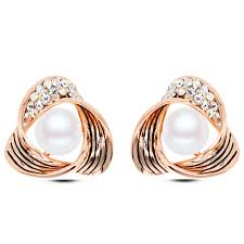 gold ear ring image e103 triangle pearl stud earring gold and silver color