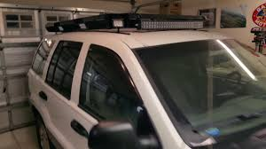 jeep wj roof lights custom jeep wj roof rack with lights youtube