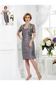short grey taffeta ruched mother of the bride evening dress lace