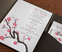 cherry blossom wedding invitations asian wedding invitations cherry blossoms letterpress wedding