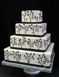 wedding cake square black and white love the simple yet elegant