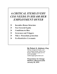 his and items 6 critical items every ceo needs in his or employment offer