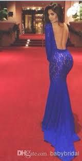 wholesale royal blue lace mermaid michael costello evening dresses