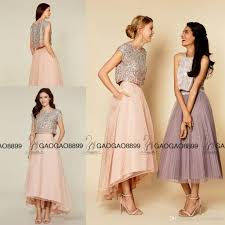 coast dresses sparkly beaded sequins two pieces high low coast bridesmaid