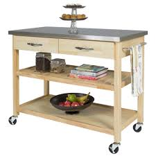 best choice products natural wood mobile kitchen island utility cart w