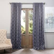 exclusive fabrics seville print blackout curtain panel pair navy blue size 50 x 84 polyester geometric